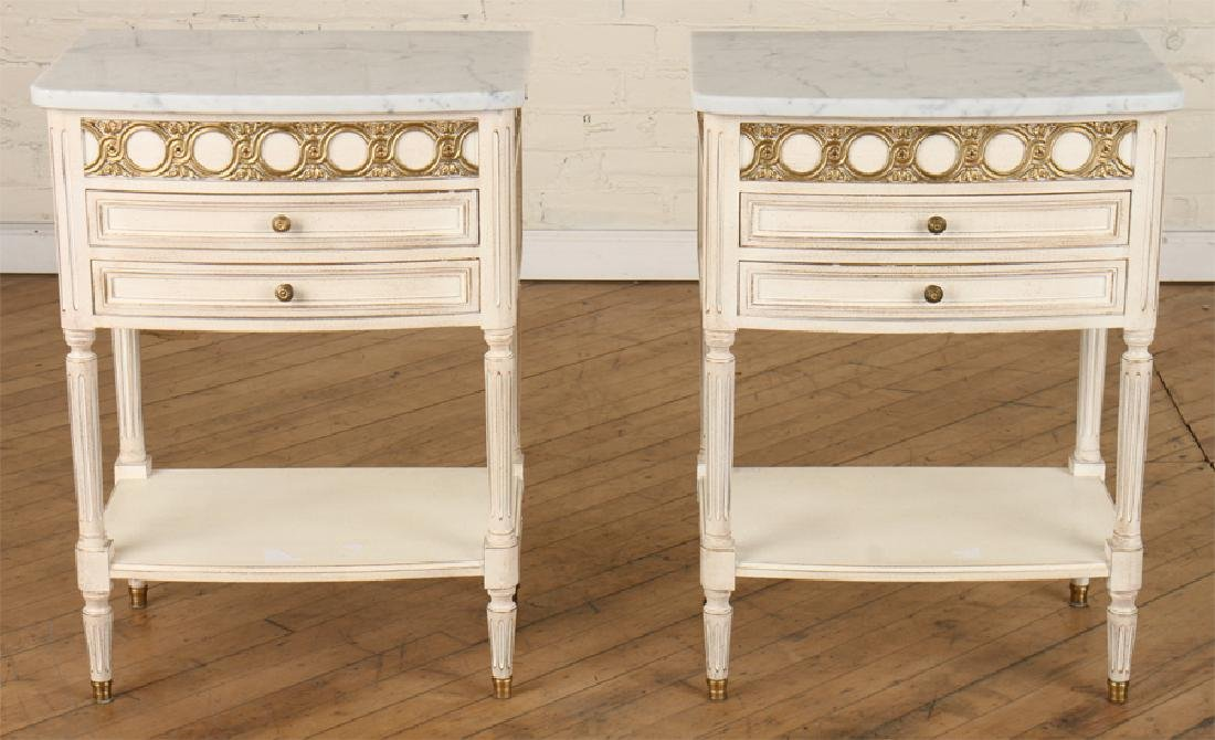 PAIR FRENCH POLYCHROMED MARBLE TOP SIDE TABLES