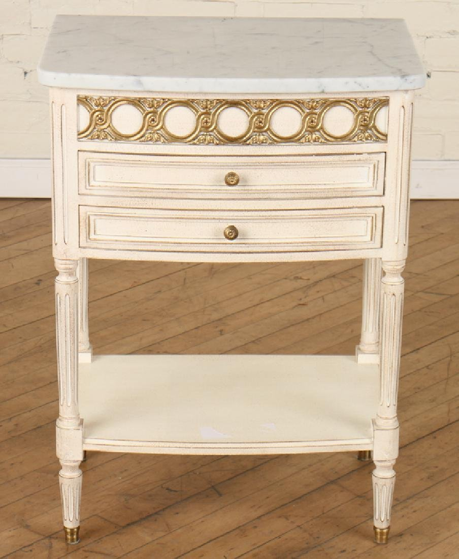 PAIR FRENCH POLYCHROMED MARBLE TOP SIDE TABLES - 2