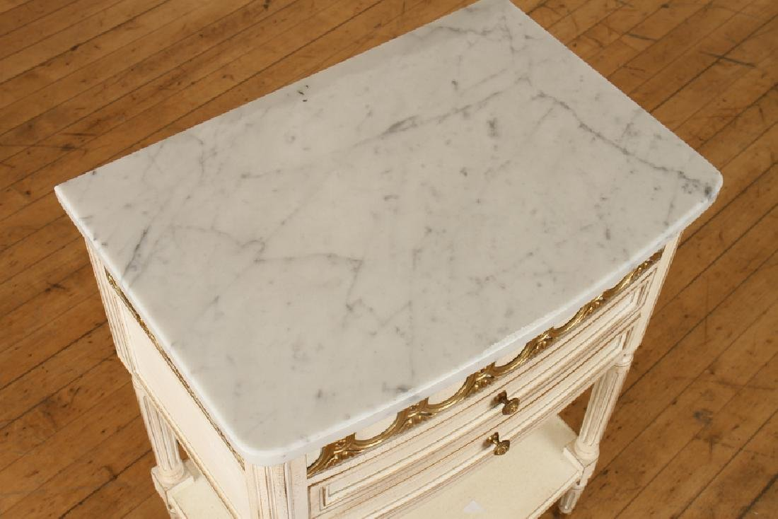 PAIR FRENCH POLYCHROMED MARBLE TOP SIDE TABLES - 4