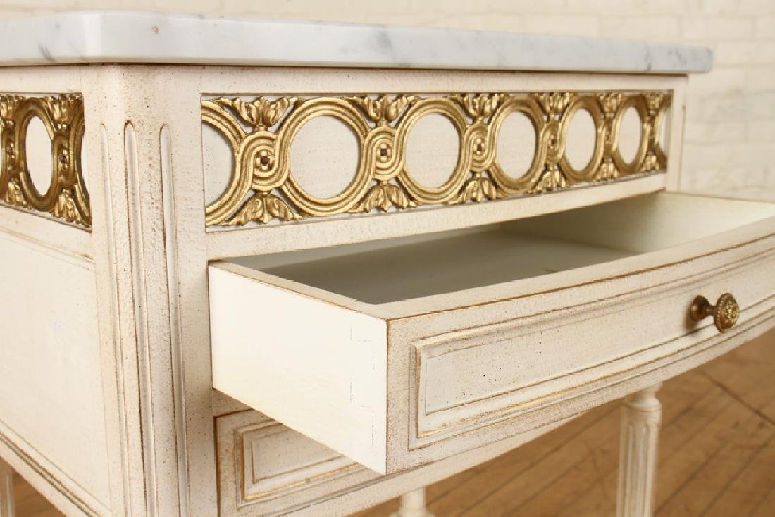 PAIR FRENCH POLYCHROMED MARBLE TOP SIDE TABLES - 5