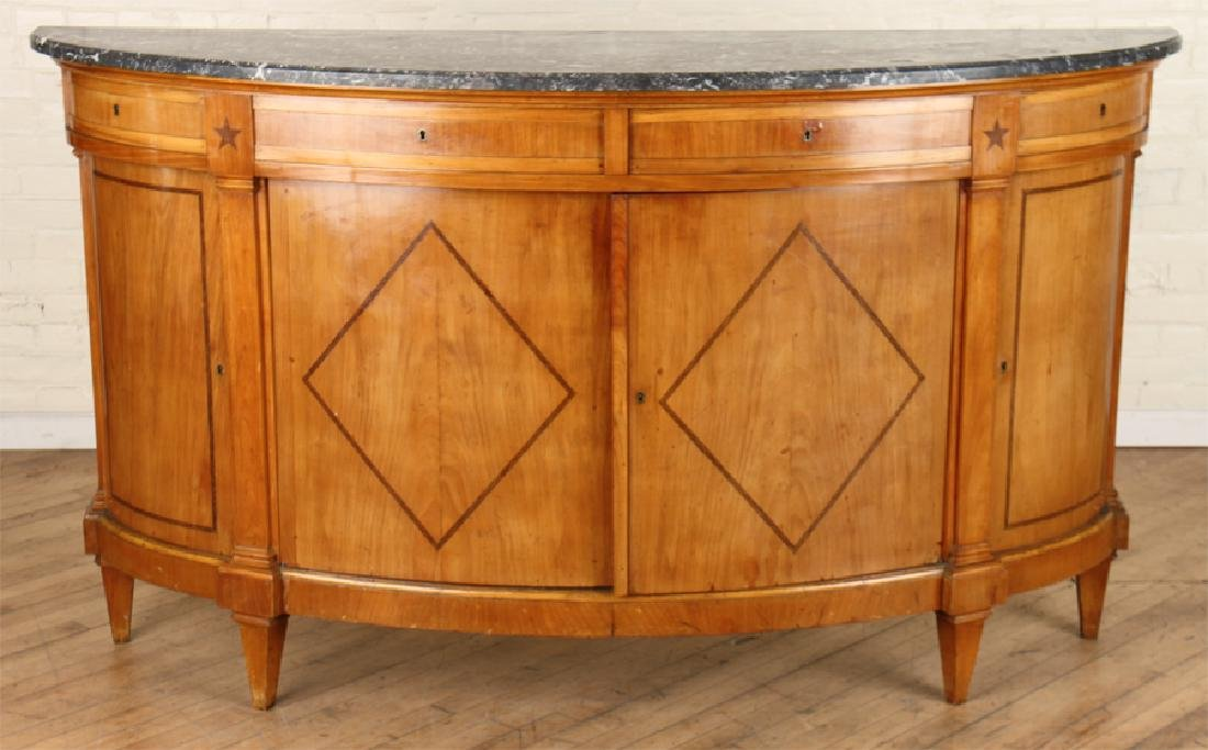 DIRECTOIRE STYLE MARBLE TOP SIDEBOARD C. 1920