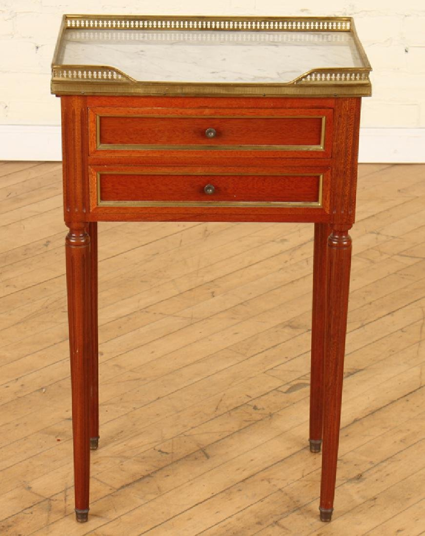 LOUIS XVI STYLE MAHOGANY SIDE TABLE MARBLE TOP