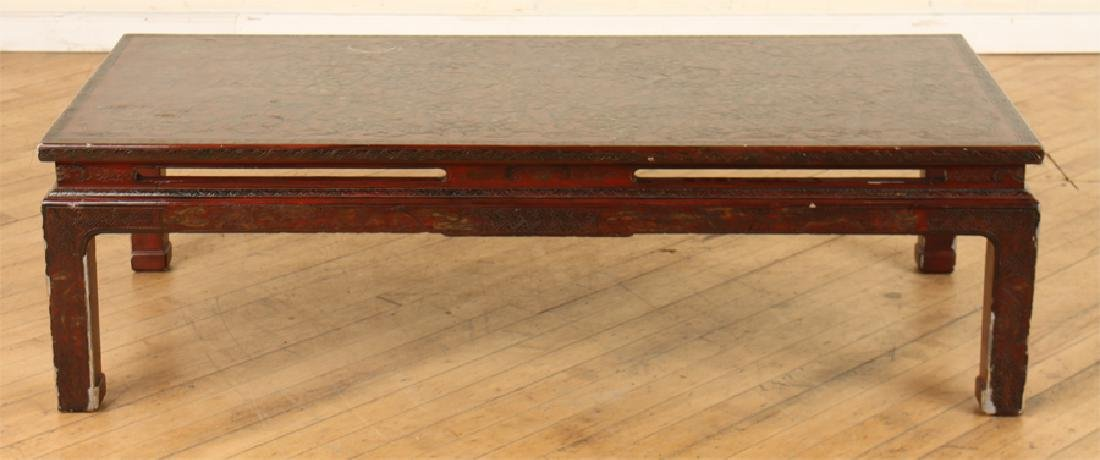 ASIAN MAHOGANY COFFEE TABLE DECORATED TOP - 2