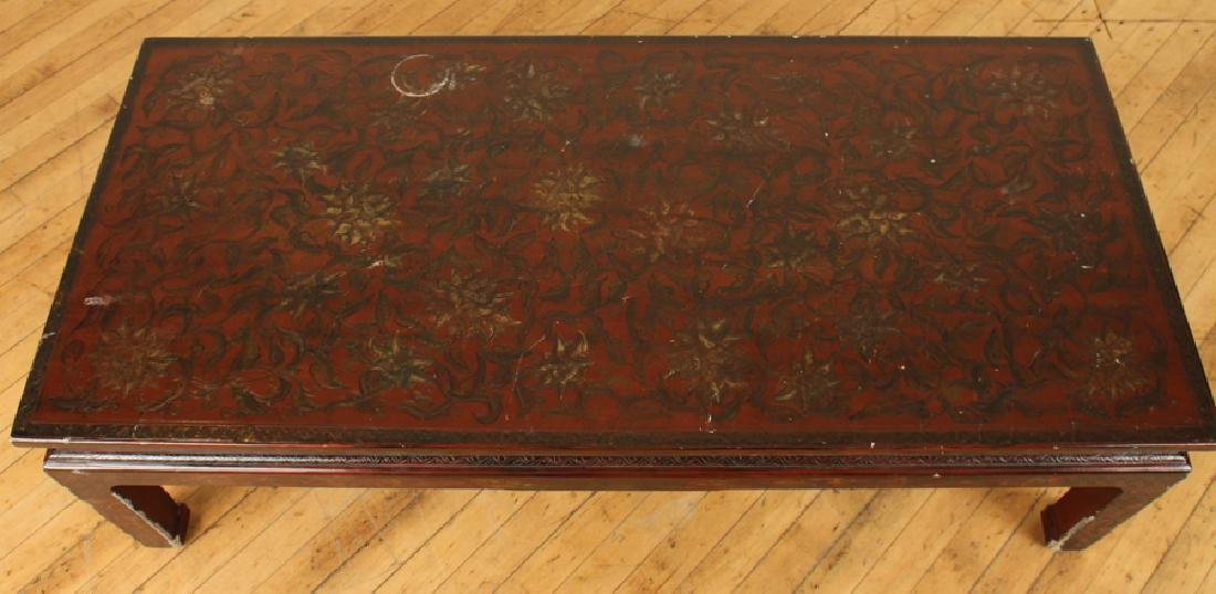 ASIAN MAHOGANY COFFEE TABLE DECORATED TOP - 3