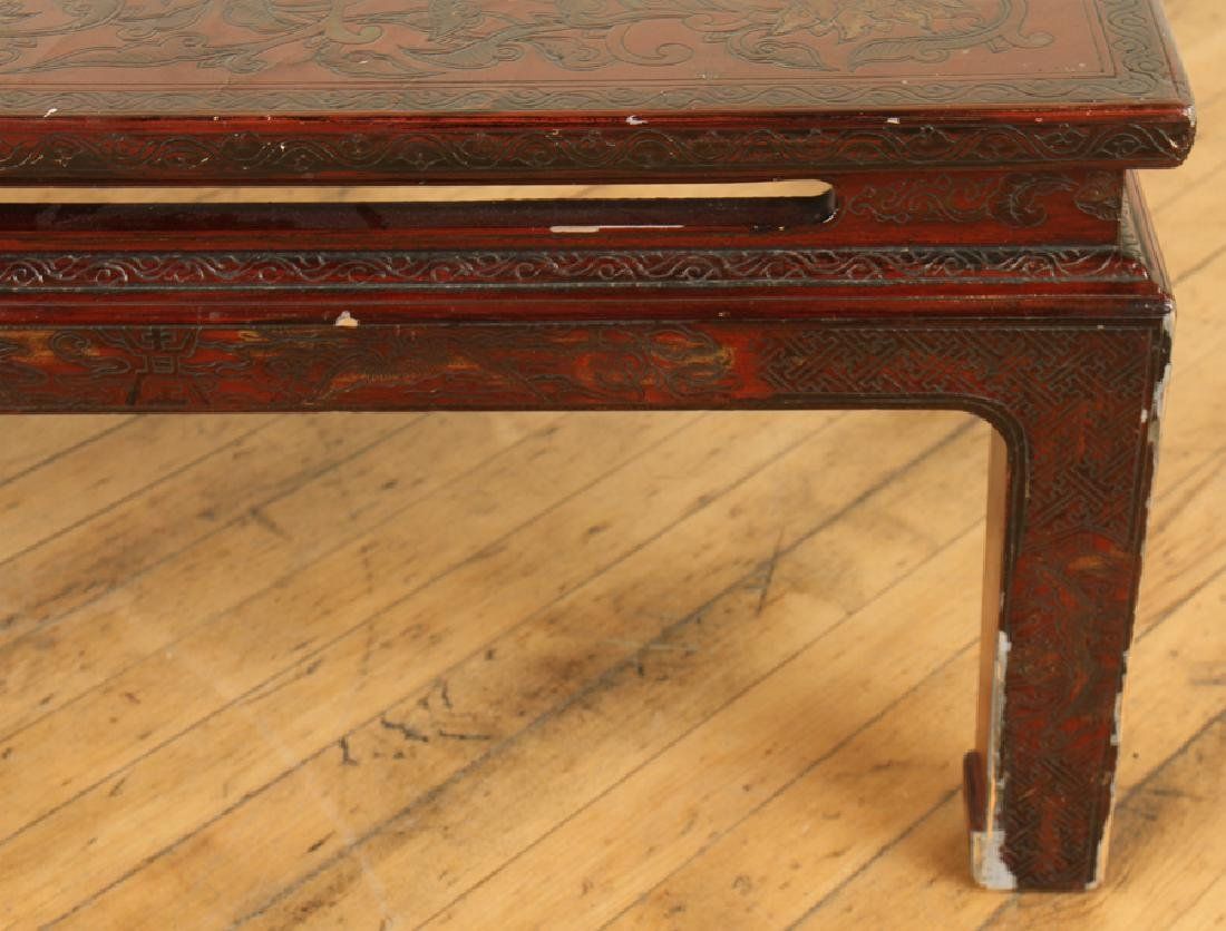ASIAN MAHOGANY COFFEE TABLE DECORATED TOP - 5