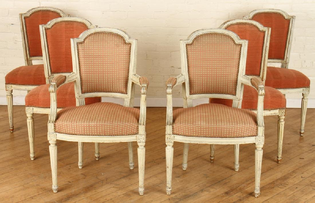 SET 6 LOUIS XVI STYLE DINING CHAIRS CIRCA 1940.