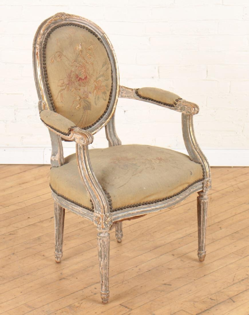 PAIR 19TH CENT. LOUIS XVI STYLE CARVED ARM CHAIRS - 2