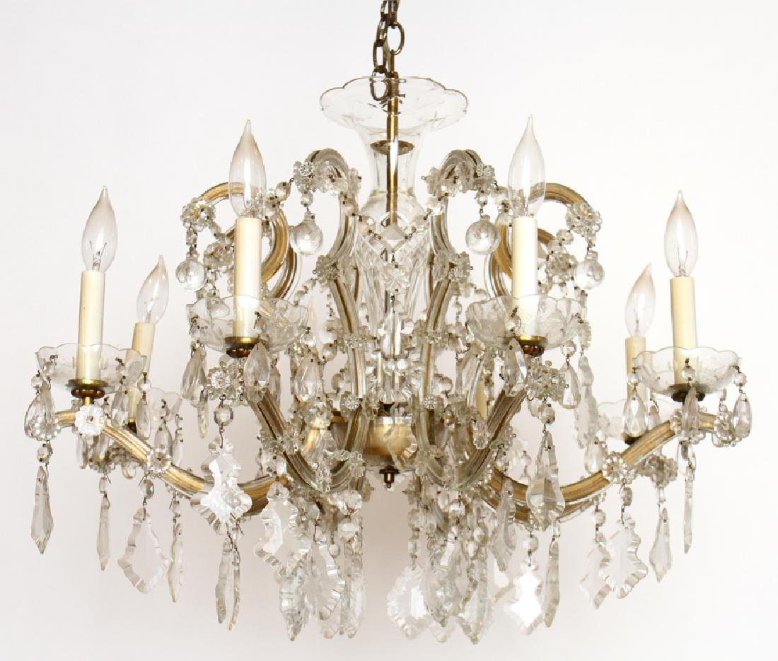 ITALIAN 8 ARM GLASS CHANDELIER WITH PRISMS