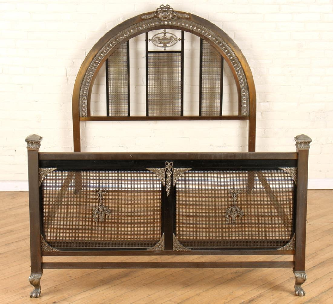 FRENCH BRONZE AND IRON FULL SIZE BED C.1910