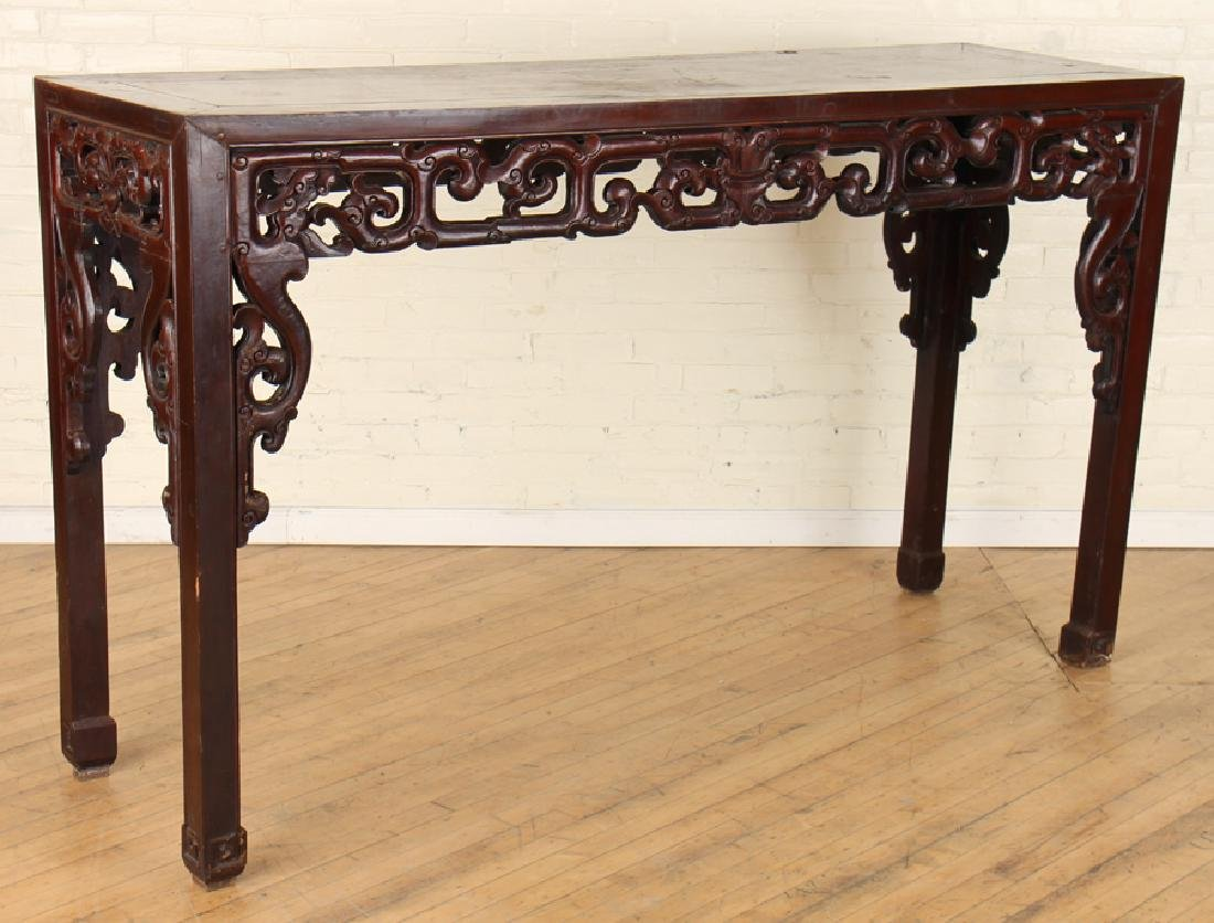 19TH CENT. CHINESE HARDWOOD ALTAR TABLE CARVED