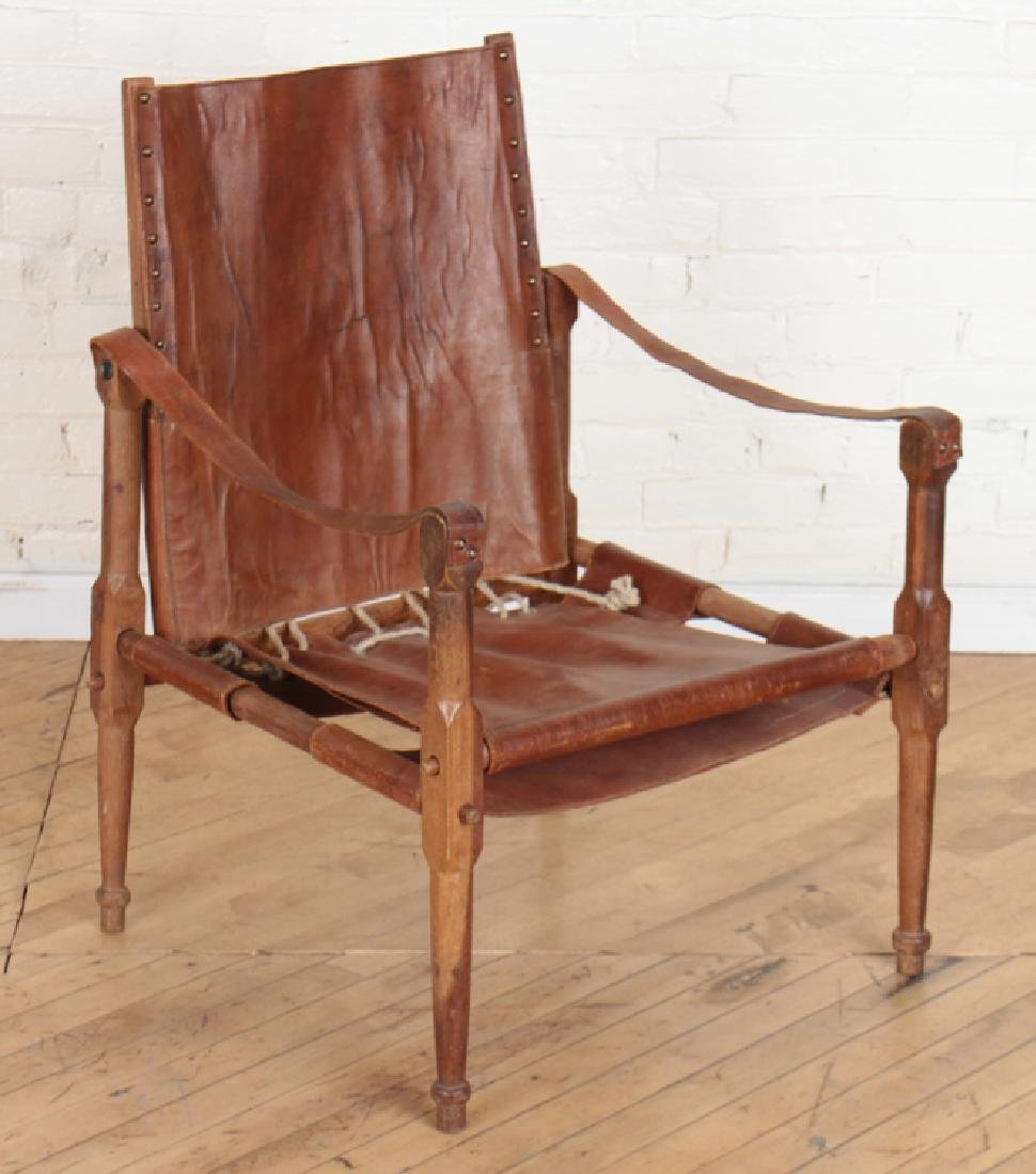 CAMPAIGN STYLE WOOD FRAME CHAIR LEATHER C. 1940