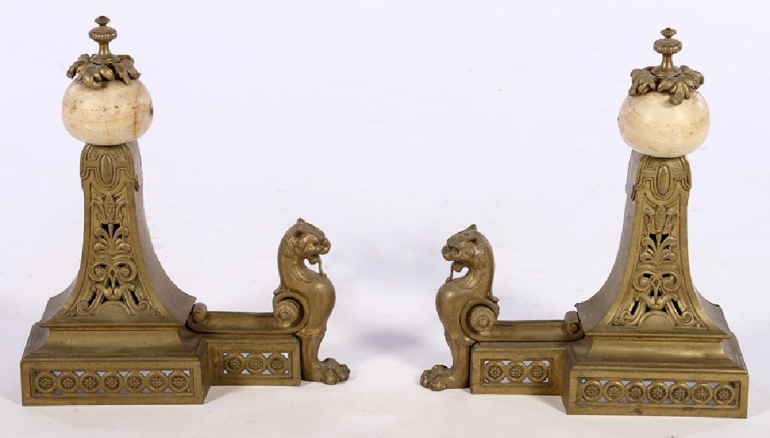 PAIR EARLY 20TH C. EMPIRE ONYX BRONZE CHENETS