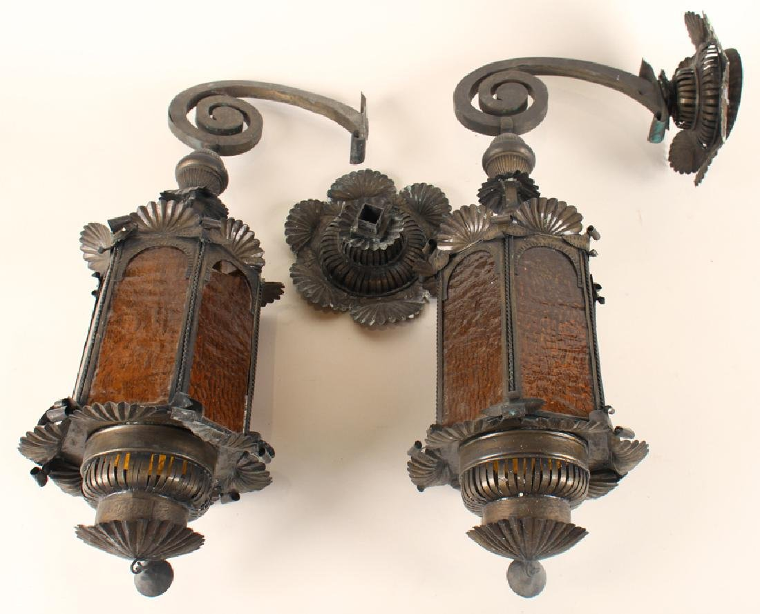 PAIR ANTIQUE TIN WALL LANTERNS AMBER GLASS C.1910