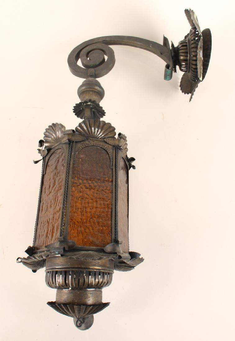 PAIR ANTIQUE TIN WALL LANTERNS AMBER GLASS C.1910 - 2