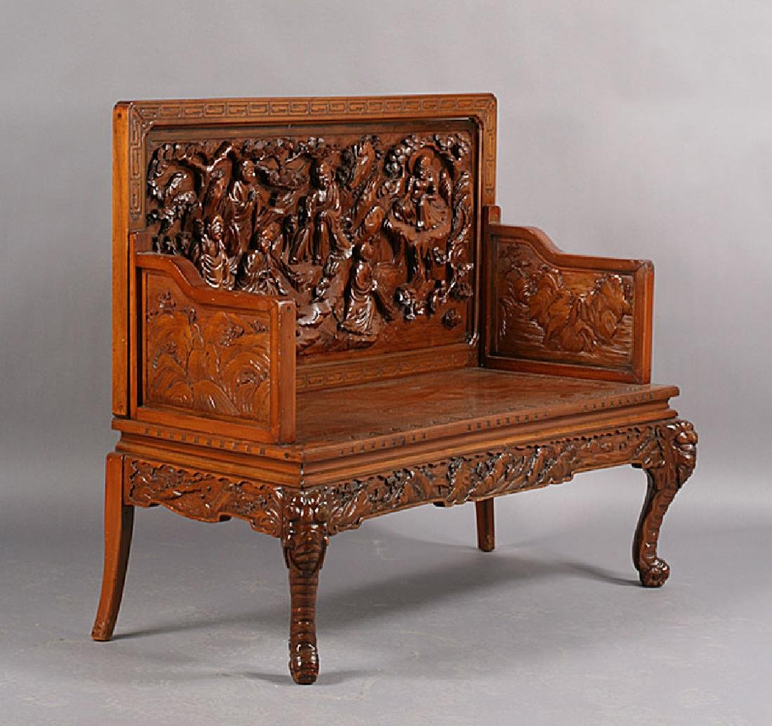 ASIAN CARVED WOOD BENCH ELEPHANT LEGS
