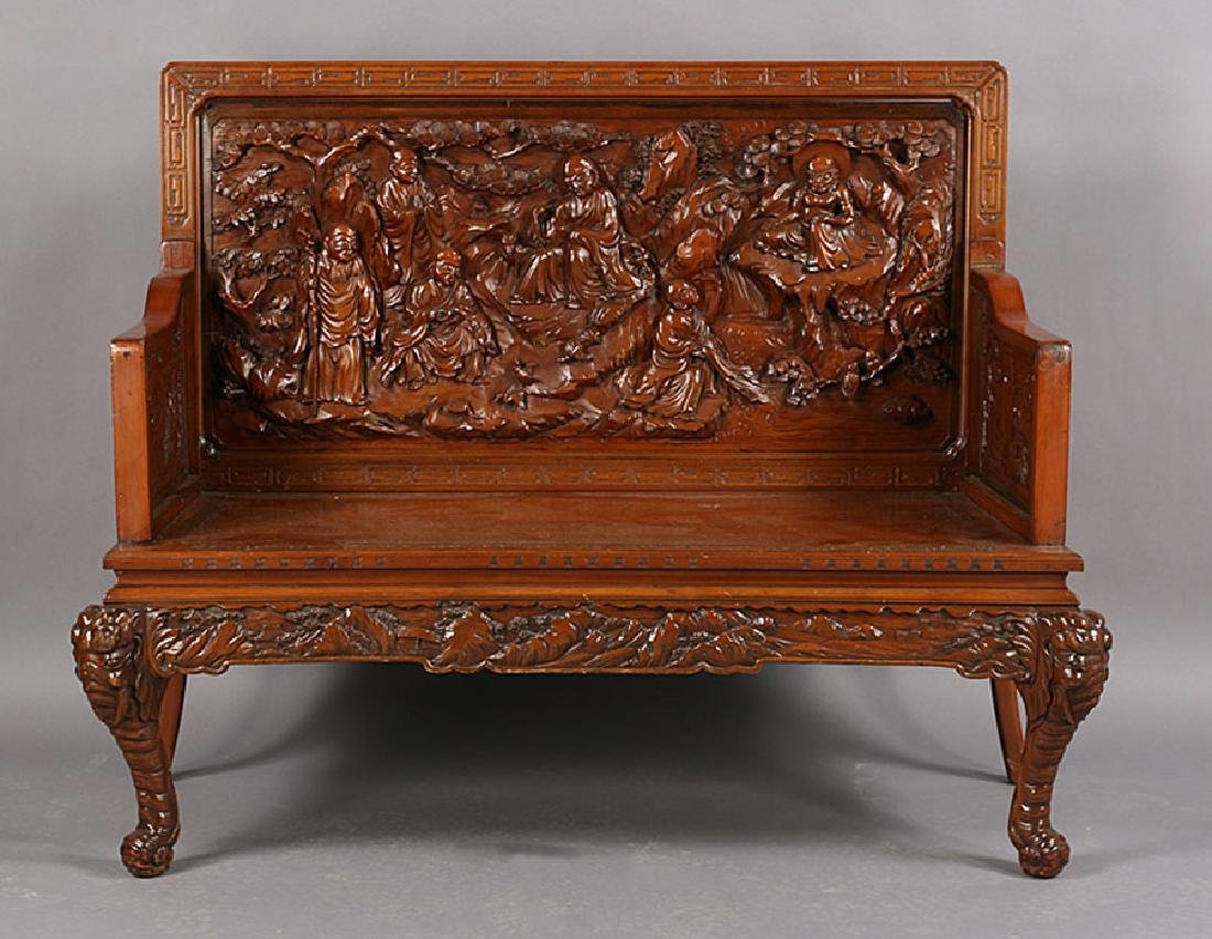 ASIAN CARVED WOOD BENCH ELEPHANT LEGS - 2