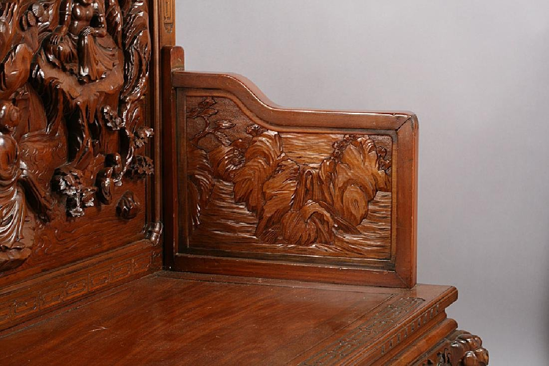 ASIAN CARVED WOOD BENCH ELEPHANT LEGS - 4