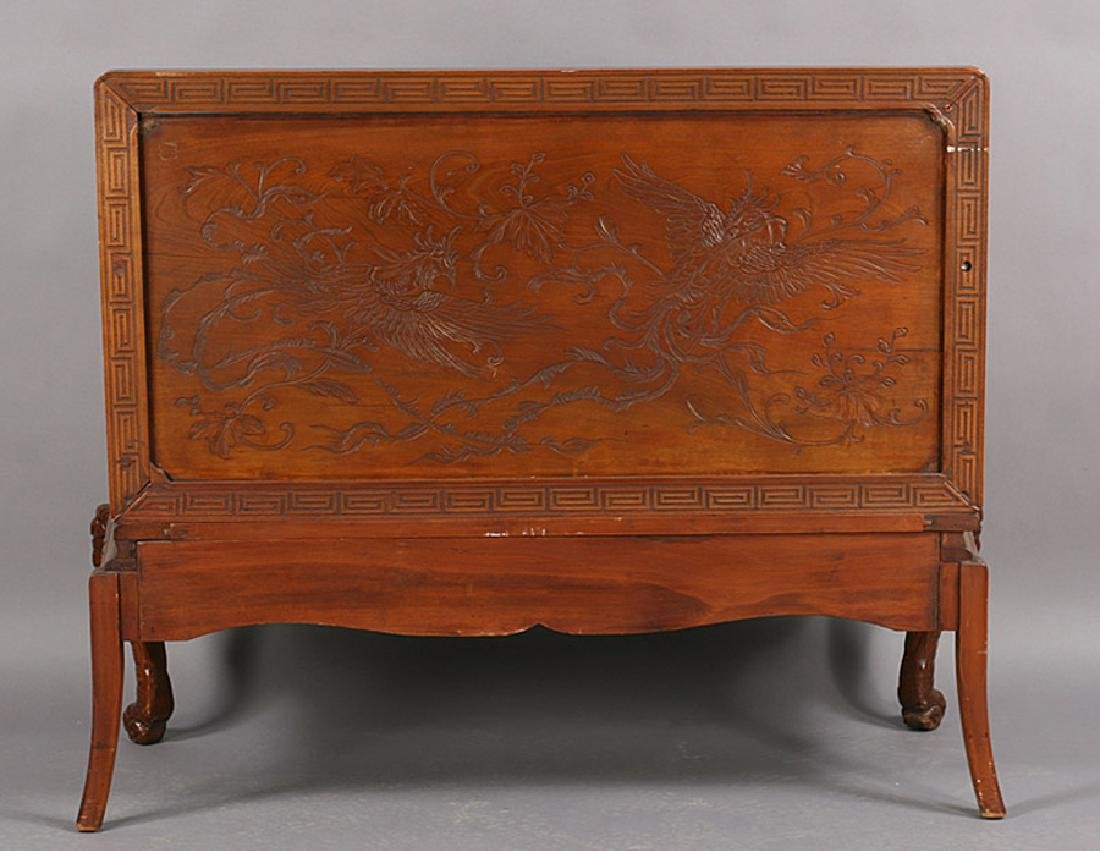 ASIAN CARVED WOOD BENCH ELEPHANT LEGS - 6