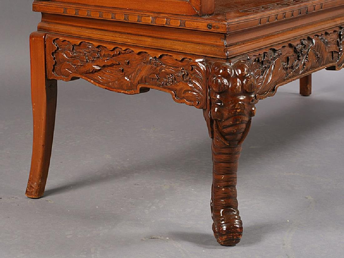 ASIAN CARVED WOOD BENCH ELEPHANT LEGS - 7