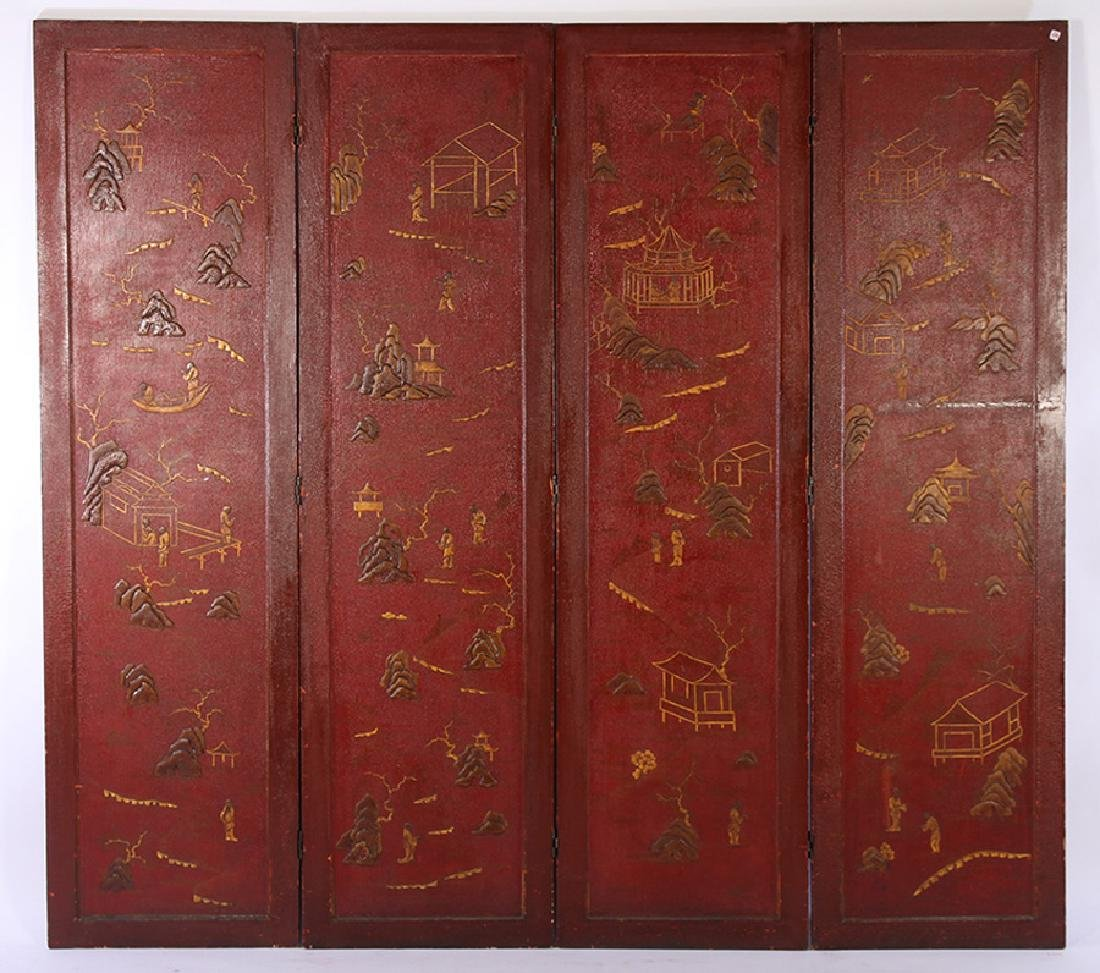4 PANEL CHINOISERIE DECORATED FOLDING SCREEN 1940