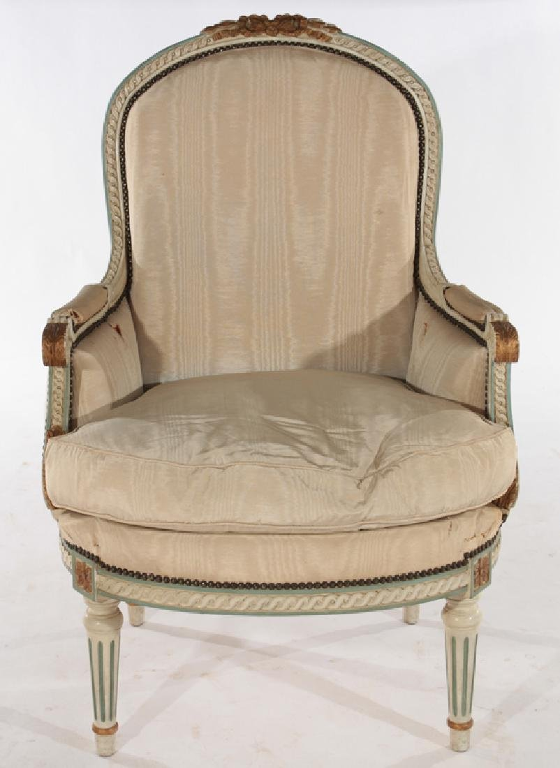 FRENCH LOUIS XVI STYLE BERGERE CHAIR C.1920 - 2