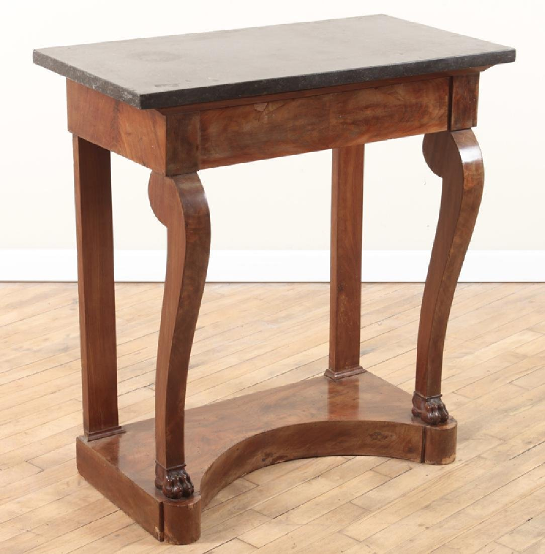 FRENCH EMPIRE STYLE MARBLE TOP WALNUT PIER TABLE
