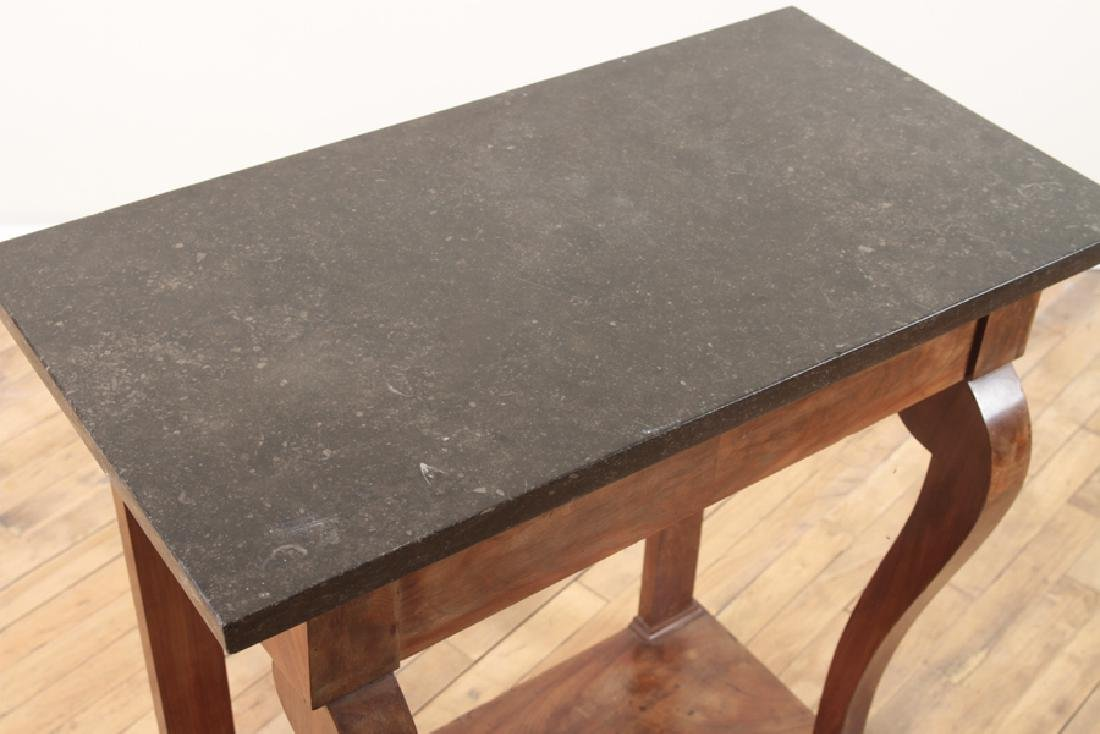 FRENCH EMPIRE STYLE MARBLE TOP WALNUT PIER TABLE - 3