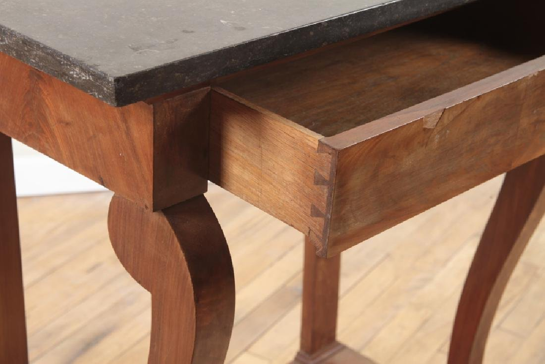 FRENCH EMPIRE STYLE MARBLE TOP WALNUT PIER TABLE - 4