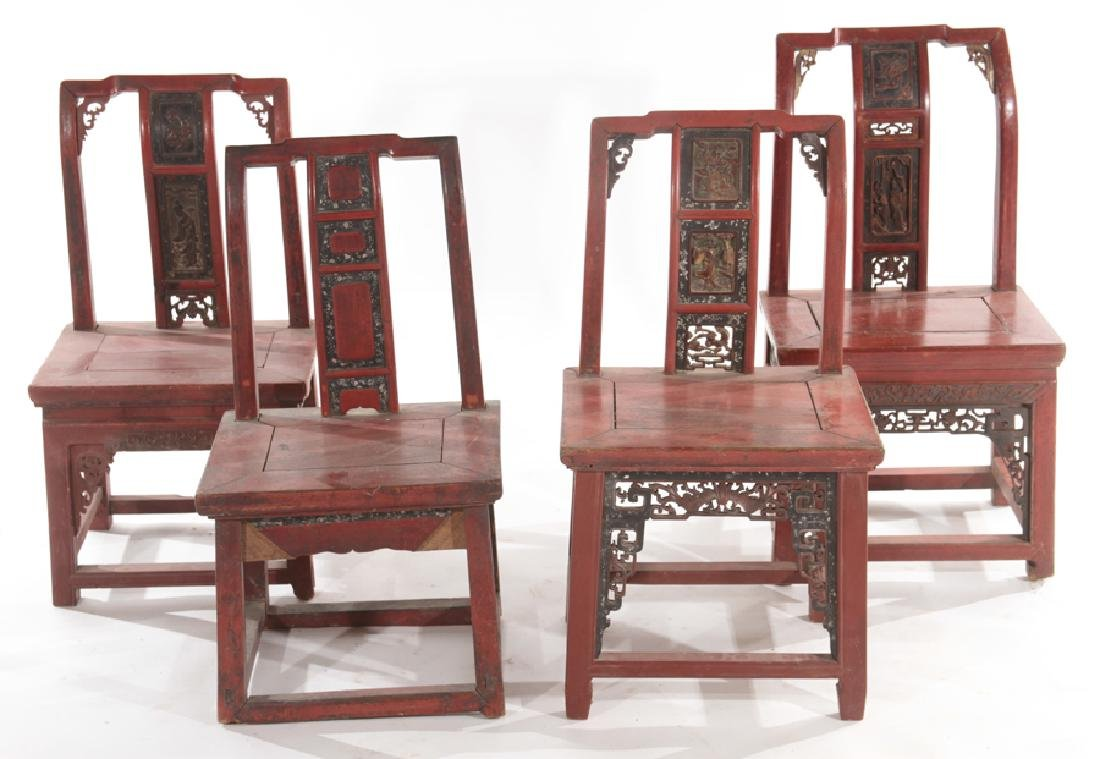 SET OF 4  EARLY 20TH CENTURY CHINESE CHAIRS