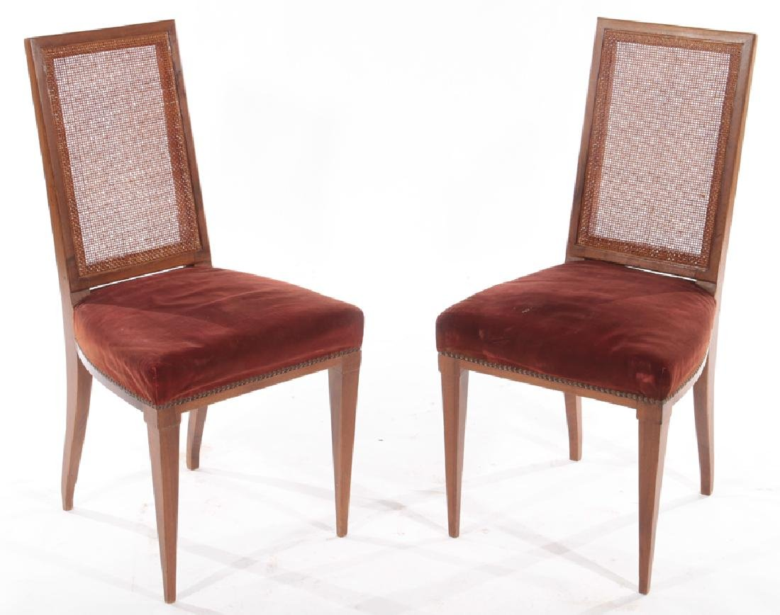 PAIR MAHOGANY SIDE CHAIRS UPHOLSTERED 1930