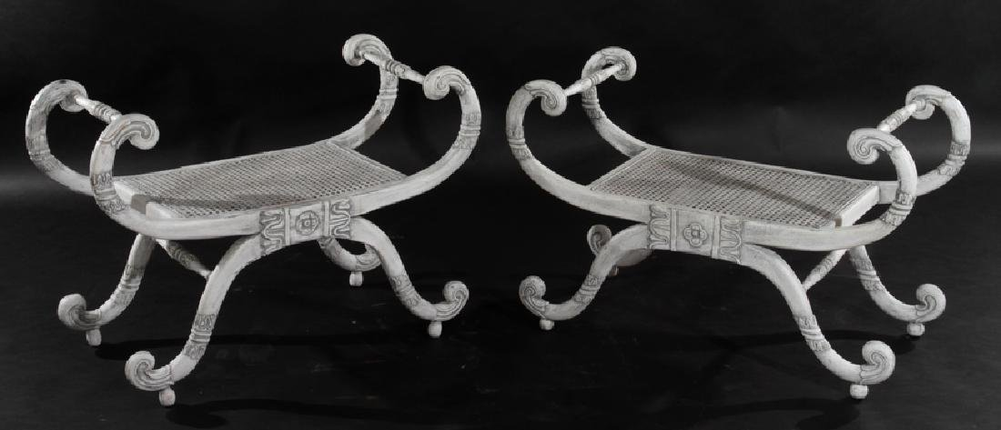 PAIR PAINTED BENCHES SCROLL FORM DESIGN