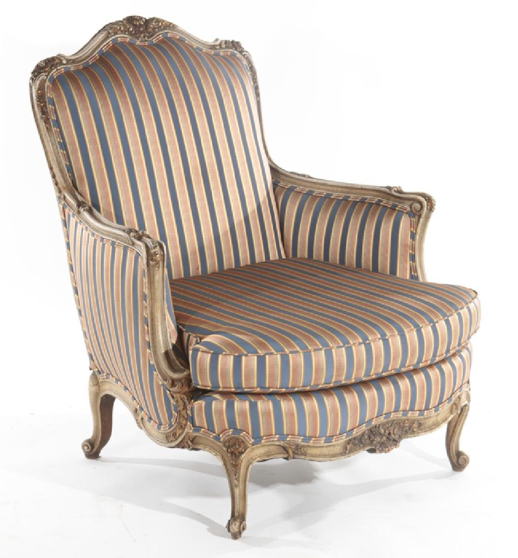 LOUIS XV STYLE CARVED BERGERE CHAIR C. 1920