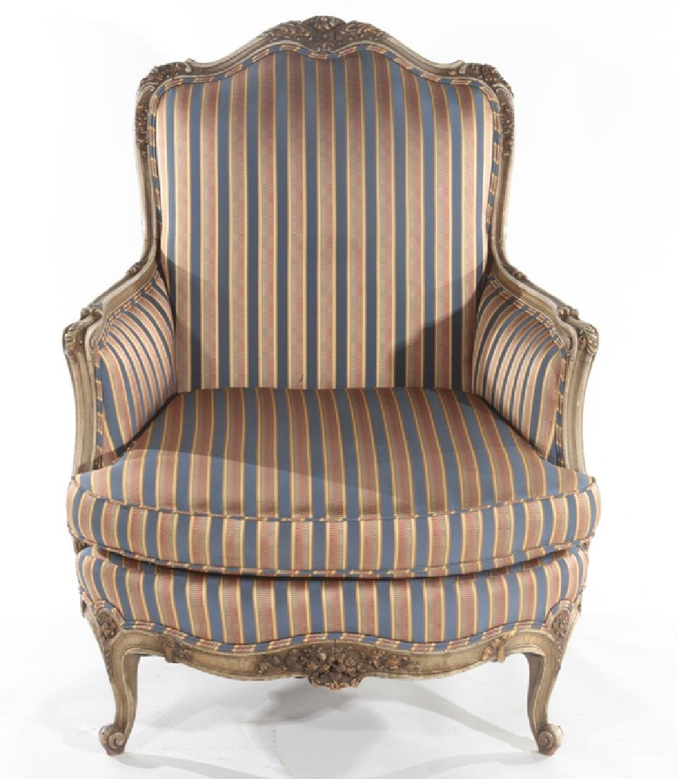 LOUIS XV STYLE CARVED BERGERE CHAIR C. 1920 - 2