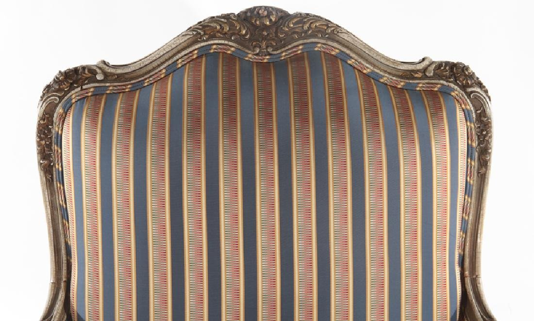 LOUIS XV STYLE CARVED BERGERE CHAIR C. 1920 - 3
