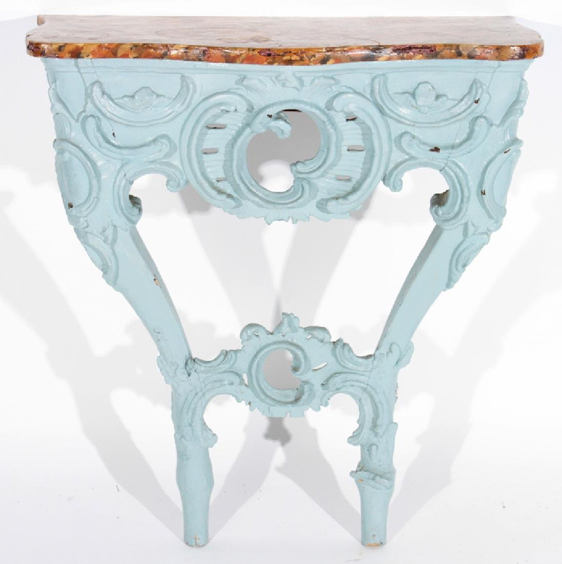 EARLY 18TH CENT. FRENCH CARVED PAINTED CONSOLE