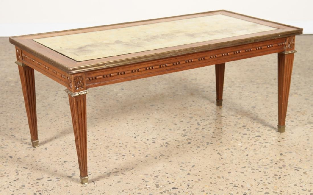 LOUIS XVI STYLE COFFEE TABLE INSET GILT GLASS TOP