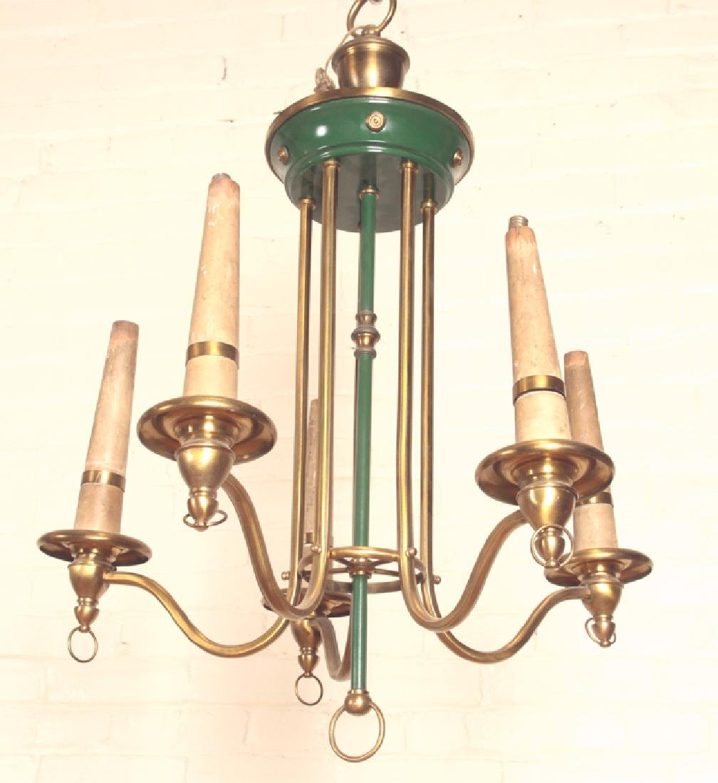 PAINTED BRASS 5 ARM CHANDELIER EMPIRE STYLE C1910