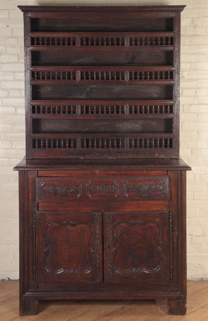 18TH CENT. CARVED WALNUT 2-PART CUPBOARD