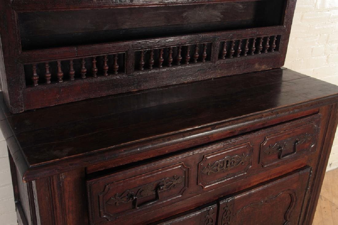 18TH CENT. CARVED WALNUT 2-PART CUPBOARD - 3