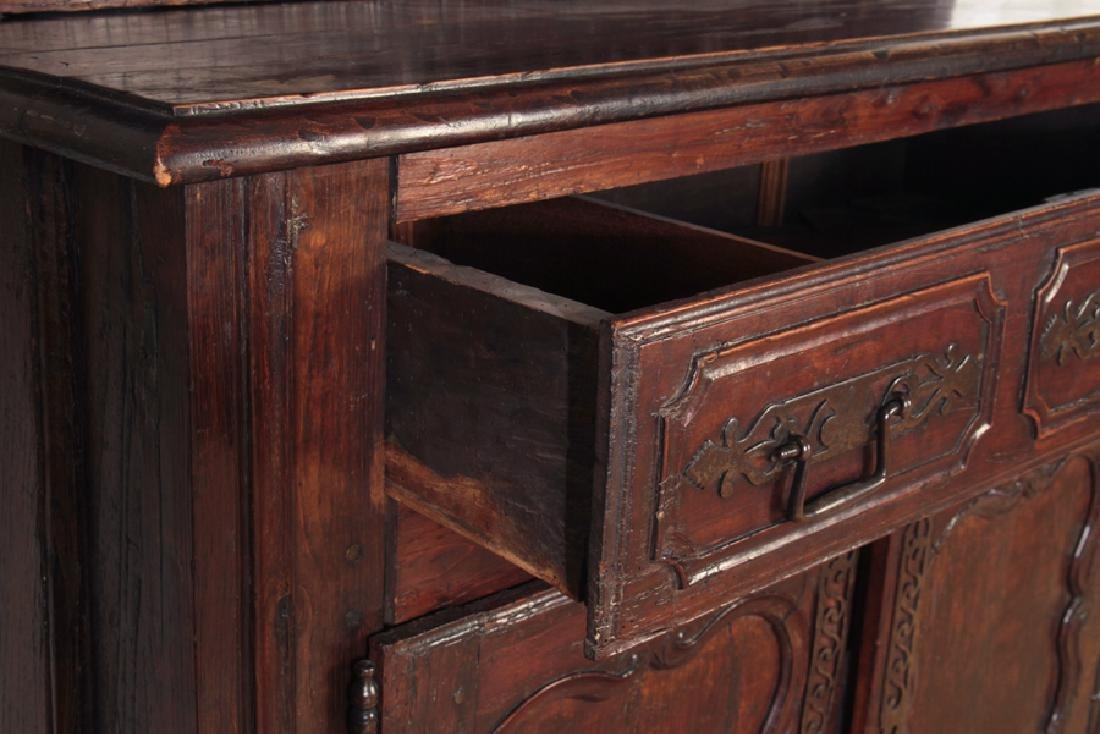 18TH CENT. CARVED WALNUT 2-PART CUPBOARD - 4