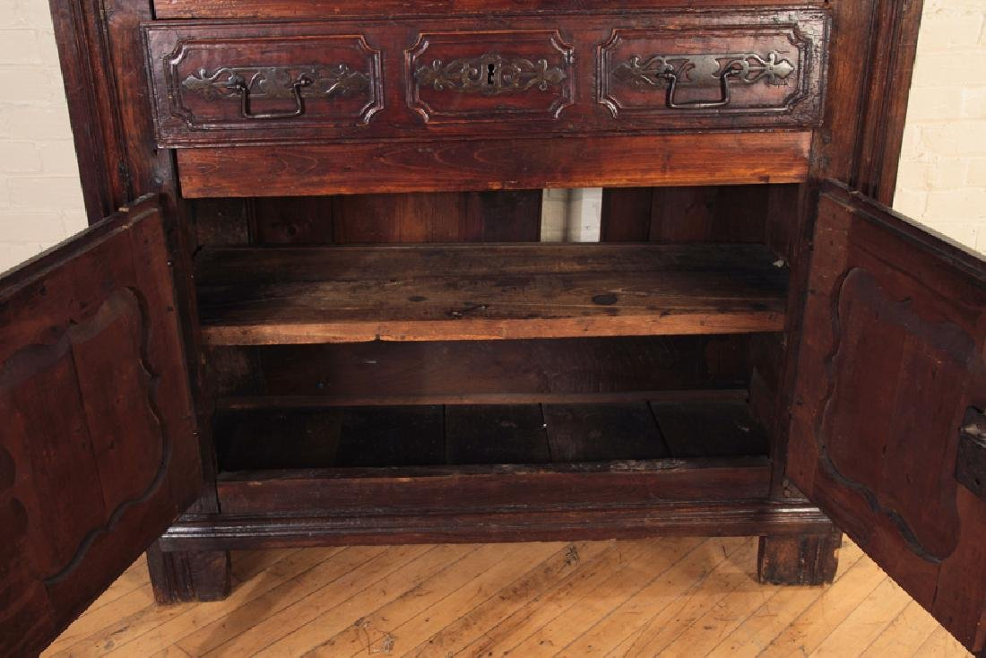 18TH CENT. CARVED WALNUT 2-PART CUPBOARD - 5