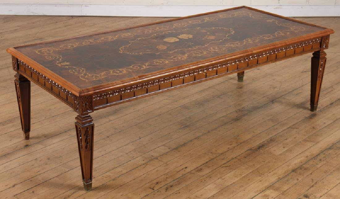 CARVED INLAID BURLED WALNUT COFFEE TABLE
