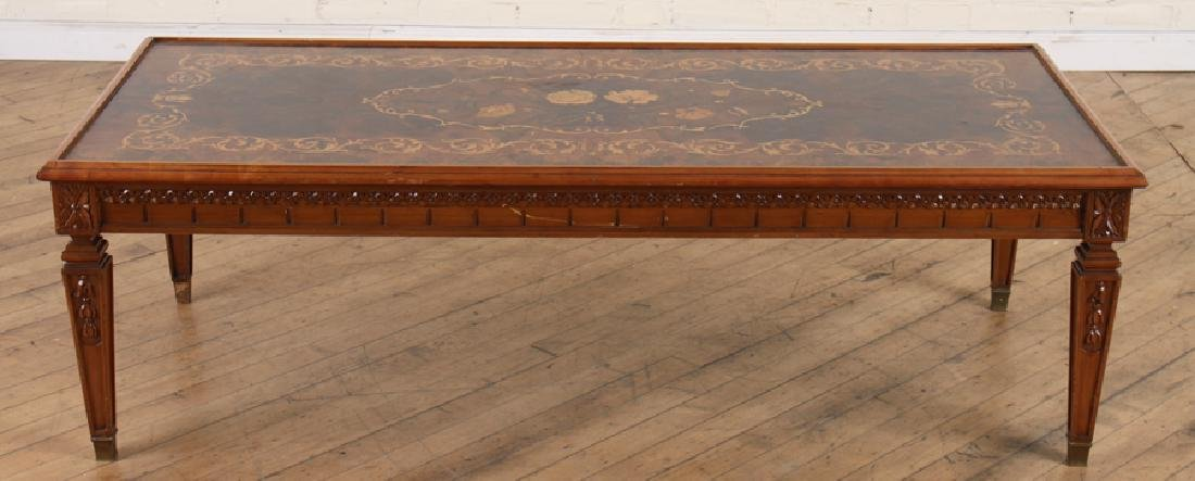CARVED INLAID BURLED WALNUT COFFEE TABLE - 2