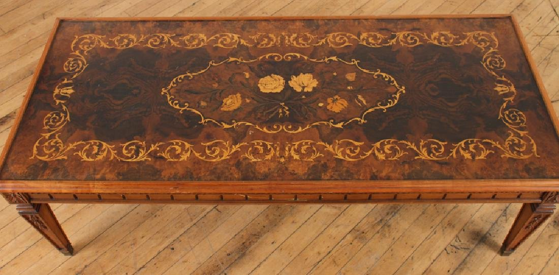 CARVED INLAID BURLED WALNUT COFFEE TABLE - 3