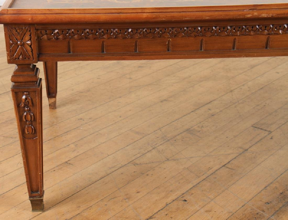 CARVED INLAID BURLED WALNUT COFFEE TABLE - 4
