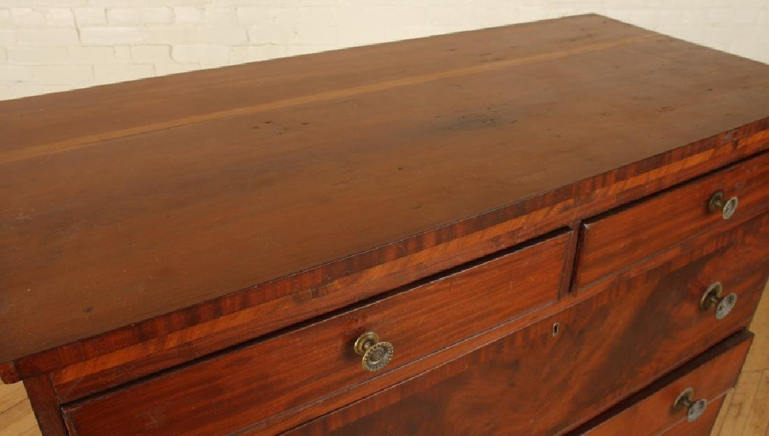 19TH C. WALNUT CHEST OF DRAWERS ON SHAPED BASE - 3