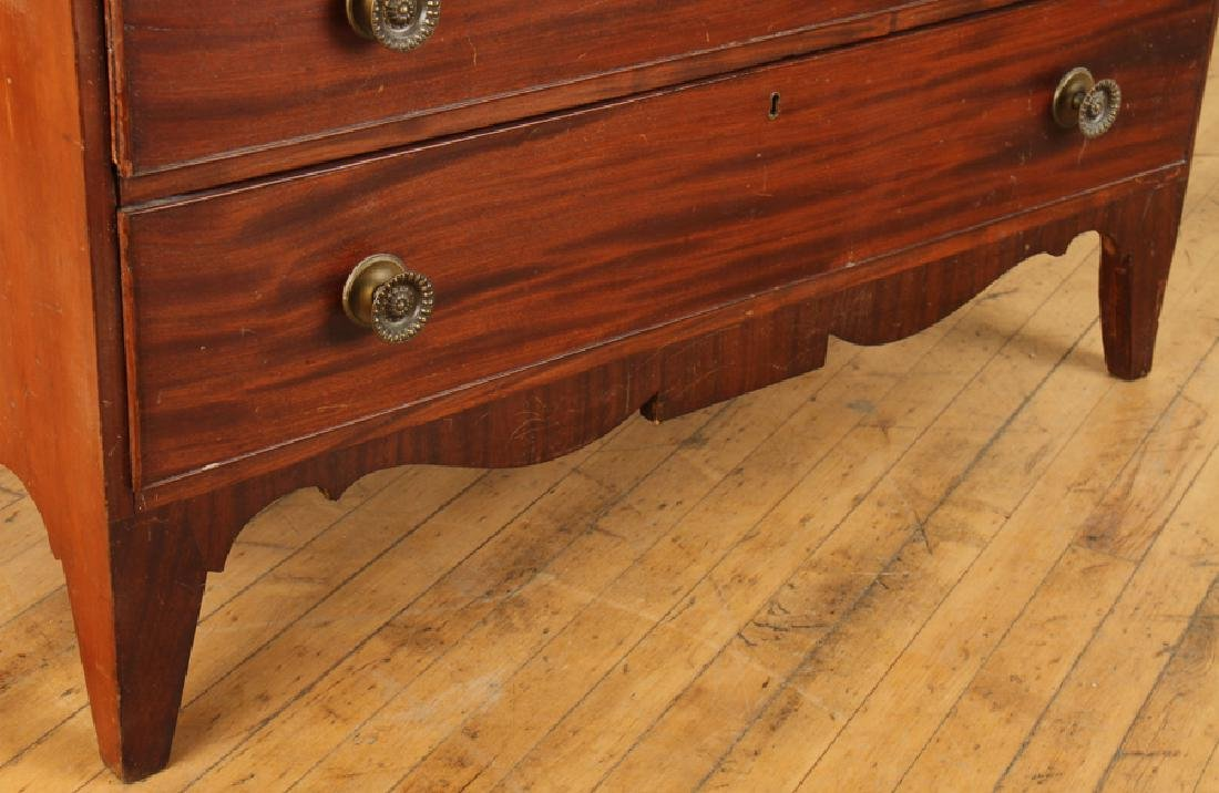 19TH C. WALNUT CHEST OF DRAWERS ON SHAPED BASE - 5