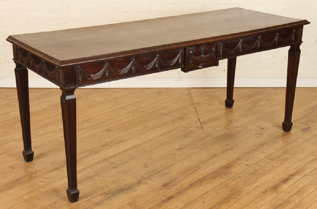 GEORGIAN STYLE CARVED MAHOGANY CONSOLE TABLE - 2