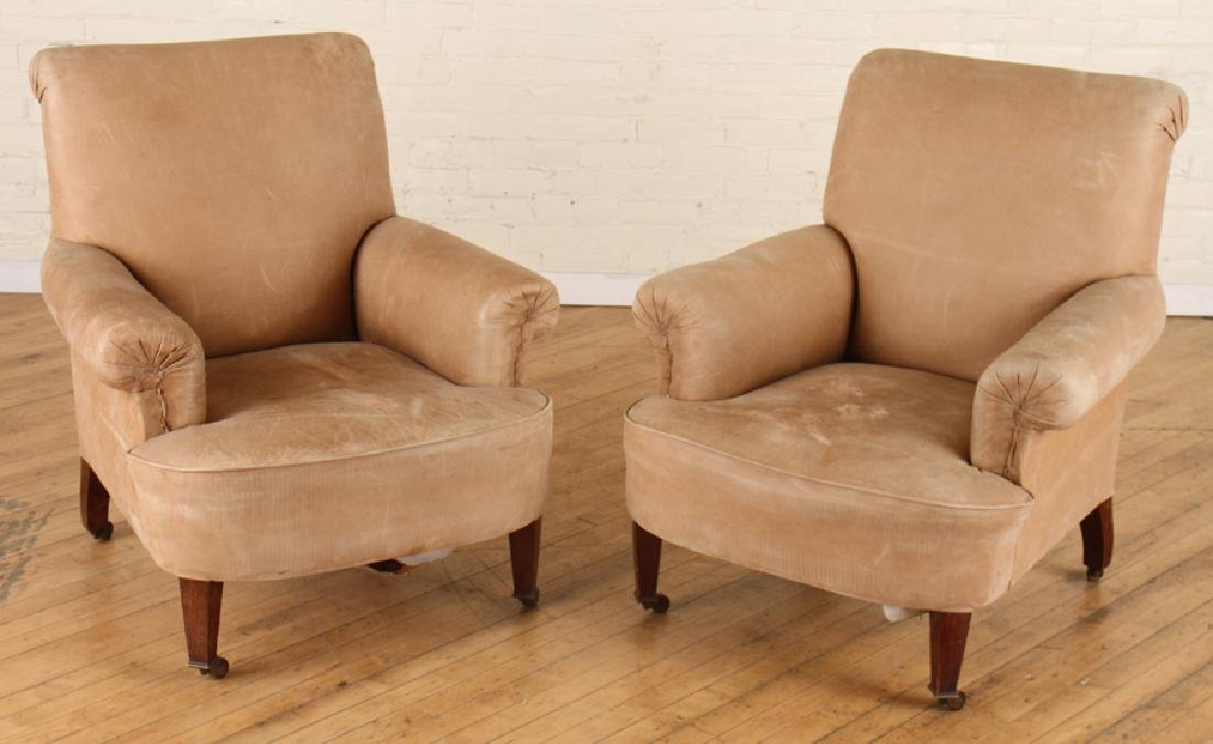 PAIR EDWARDIAN STYLE LEATHER CLUB CHAIRS C.1920