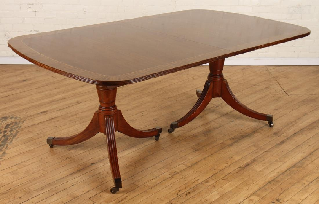 LABELED BAKER DOUBLE PEDESTAL MAHOGANY TABLE